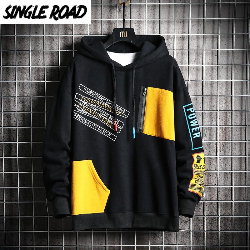 SingleRoad Mens Hoodies Men 2020 Winter Patchwork Hip Hop Japanese Streetwear Harajuku Black Sweatshirt Hoodie Men Sweatshirts sad tearing frog print basic hoodies women hooded sweatshirts harajuku hip hop hoodies sweatshirt japanese streetwear hoodie