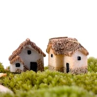 4pcs house figurine resin craft home miniature fairy garden car decoration accessories modern cartoon animal building statue