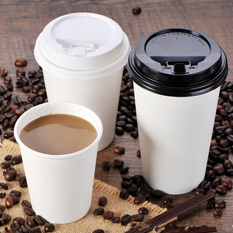 Taza de café blanca pura desechable para fiesta de cumpleaños o barbacoa, taza de embalaje para bebidas frías y calientes, taza de papel gruesa para té de la leche con tapa