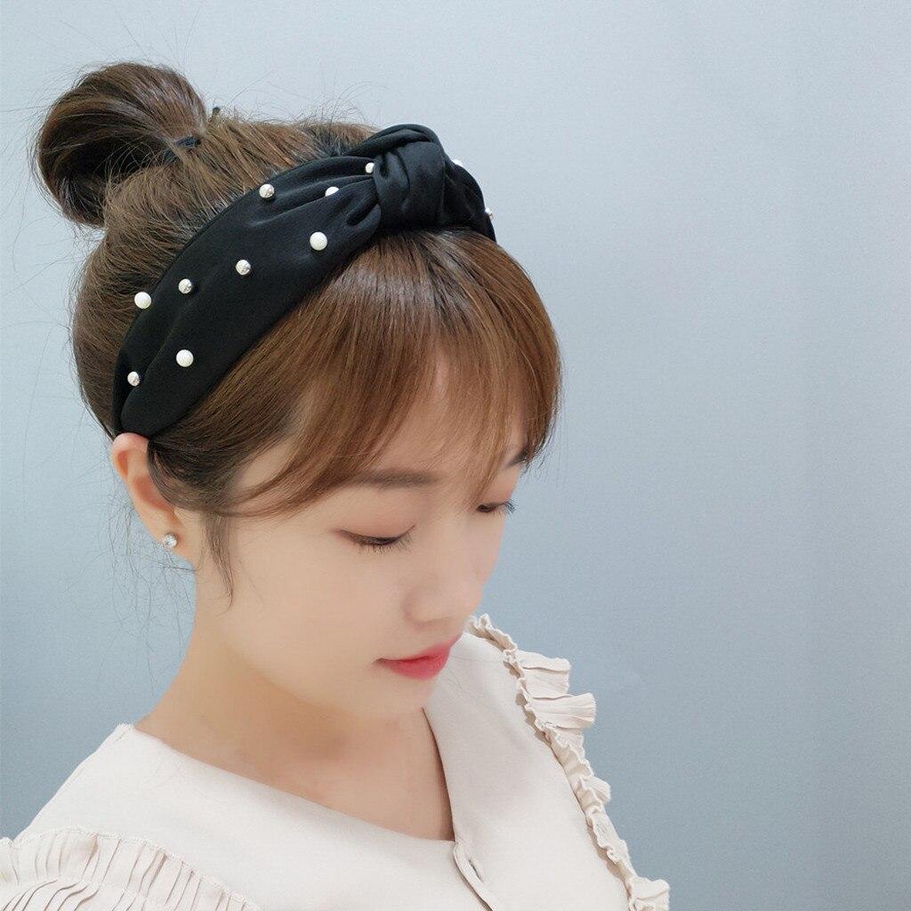 Moda grande lado pérola arco hairband acessórios para o cabelo feminino princesa harajuku headwrap meninas headwear cabelo turbante