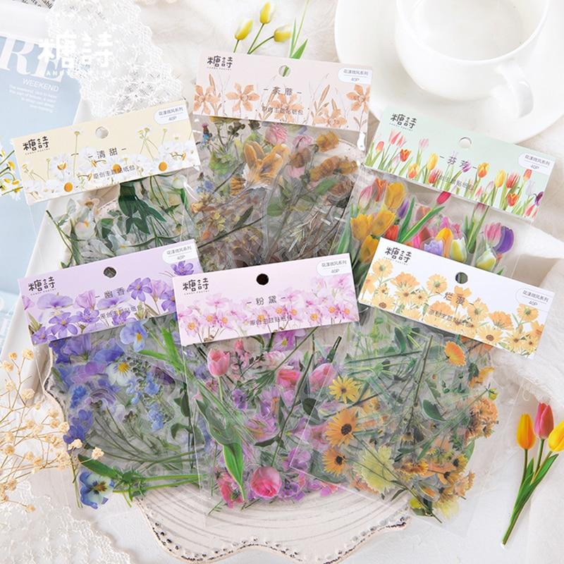 AliExpress - Journamm 40pcs PET Flowers Daisy Deco for Journal Stationery Supplies Plant Stickers Junk Journal Scrapbooking Label Stickers