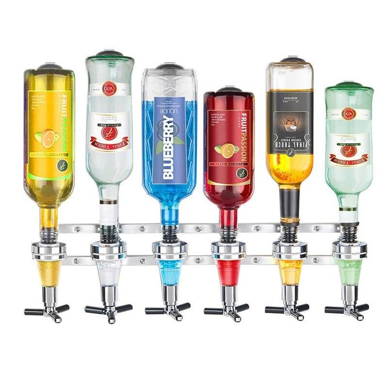 Montado na parede 6-station licor máquina dispensador de vinho mordomo beber pourer casa barra ferramentas para cerveja coque gás refrigerante