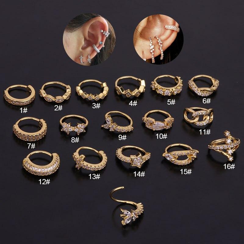 1 stücke Cz Hoop Helix Knorpel Ohrring Tragus Ring Ohr Piercing Schmuck 16 Stil