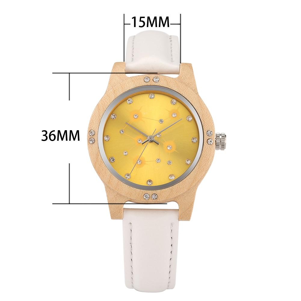Fashion Luxury Diamond Starry Sky Dial Wood Watch Women Men Leather Bracelet Ladies Quartz Wooden Wristwatches Girlfriend Gifts enlarge