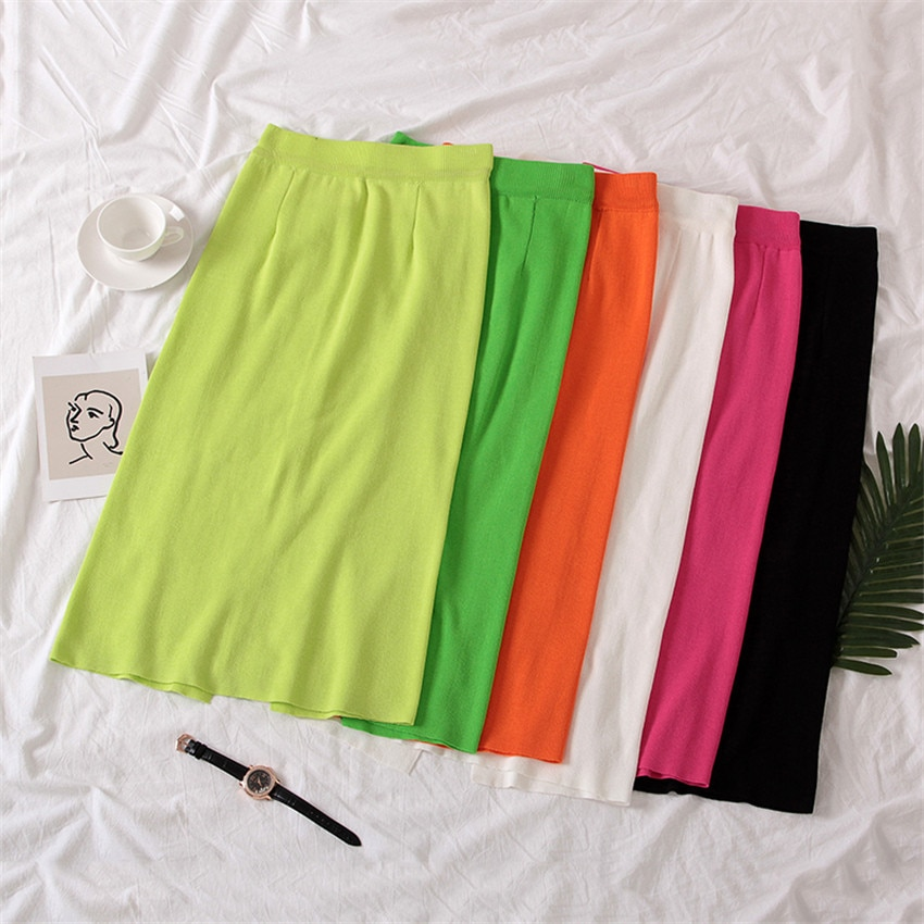 Korean Fashion Knitted Pencil Skirts Womens High Waist Skirt Sexy High Split Bodycon Skirt Spring Autumn Saia Midi Jupe Femme
