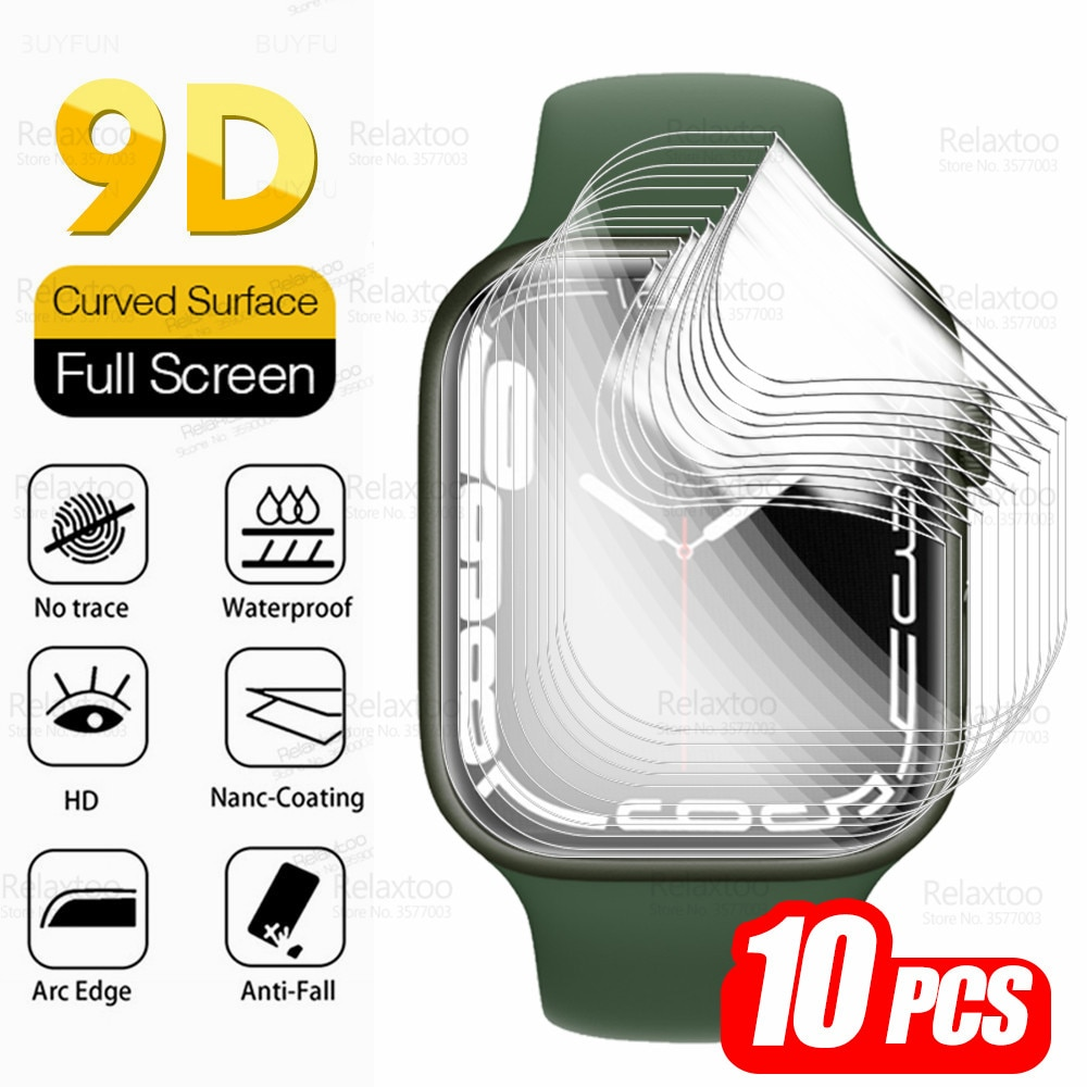10pcs 9D Hydrogel Film For Iwatch Series 7 45mm 41mm Screen Protector For I Watch 7 IWatch7 SmartWatch Soft Protection Not Glass