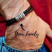 Personnalisé En Acier Inoxydable Bracelets Porte-Bonheur Véritable Corde Tressée En Cuir Hommes Bracelet Personnalisé Avec 1-9 noms Perles Bijoux Cadeau