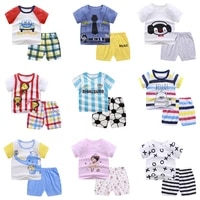 summer kids infant clothing sets boys toddler baby girls clothes cotton cartoon print football t shrits shorts outfit children