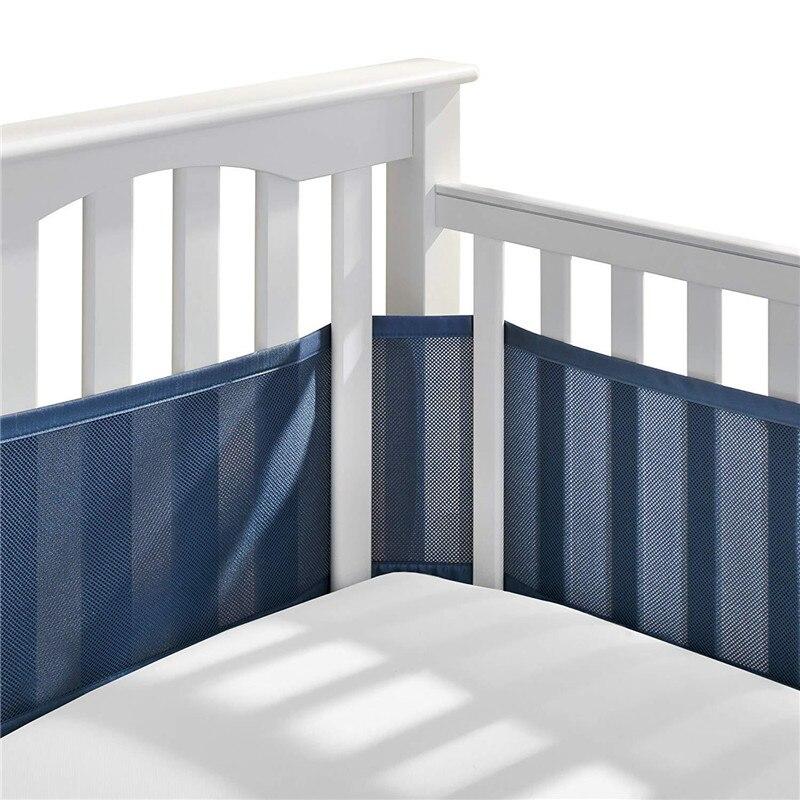 Детские кроватки бампер Обувь с дышащей сеткой кроватки лайнер анти-столкновения на перила кроватки однотонный обратно кроватки вокруг по...