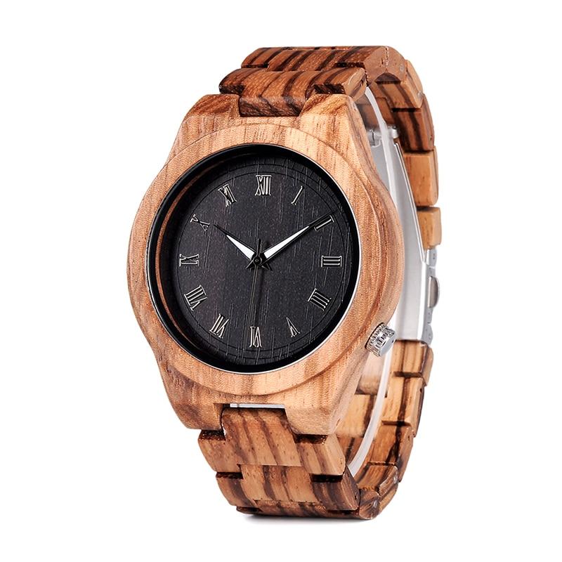 BOBO BIRD Zebra Wooden Watches Man Quartz Watch Lightweight Wood Vintage Wooden Men Analog wristwatch Male Luminous Pointers