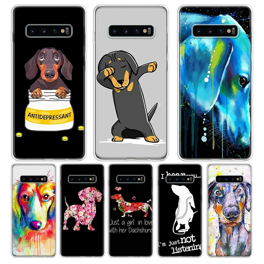Funda de teléfono con silueta de perro para Samsung Galaxy S7 S8 S9 Plus J4 J6 J8 2018 S7 Edge Note 8 9 10, funda trasera de silicona suave de TPU