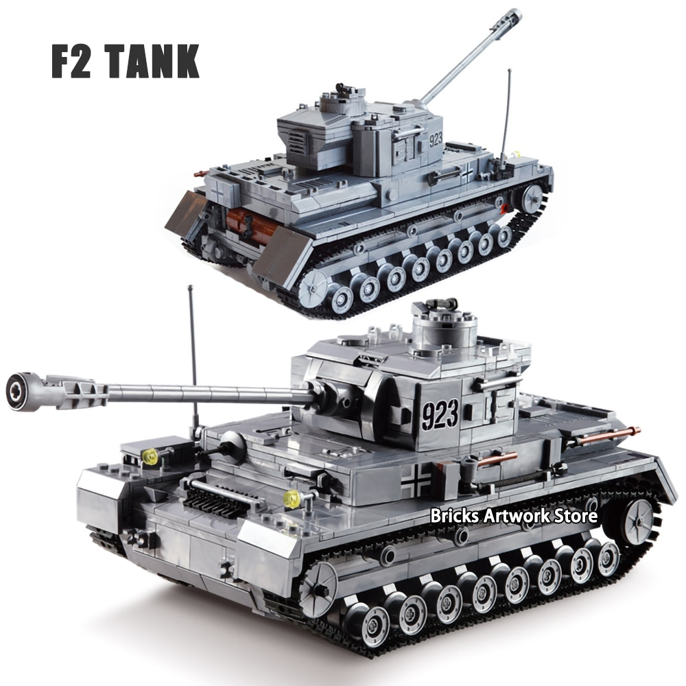KAZI 82010 WW2 Tank Military Armored War Chariot F2 Tank German Force Panzer IV Soldiers Figures DIY Building Blocks Toys Kid military world war german panzerkampfwagen iv tank ww2 army figures building blocks toys for boys gift