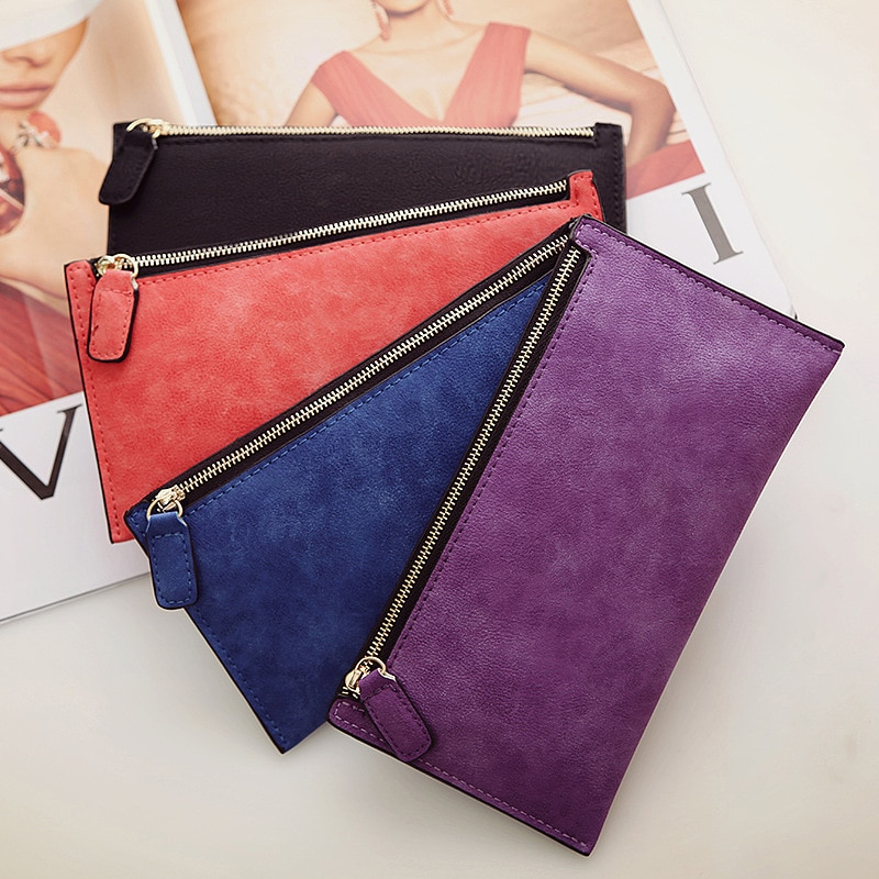 Women Purse Ladies Wallet Long Money Bags Simple Style Coin Purse Leather Thin Wallets Female Card Holder Solid