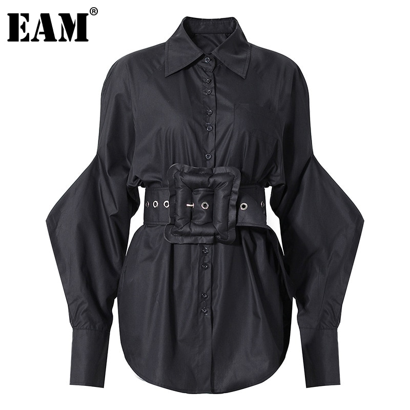 [EAM] Women Big Size Belt Shaped Black Blouse New Lapel Long Lantern Sleeve Loose Fit Shirt Fashion Spring Autumn 2021 1DD3940
