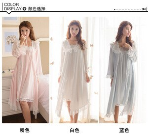 Autumn Women's Long Nightdress Long-Sleeved Nightdress Lace Sexy V-neck Pajamas Two-Piece Leisure Tops Bath Clothes