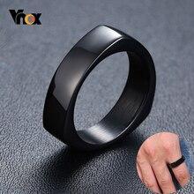 Vnox Design Triangle forme bague pour hommes noir acier inoxydable géométrique homme bande Punk bijoux