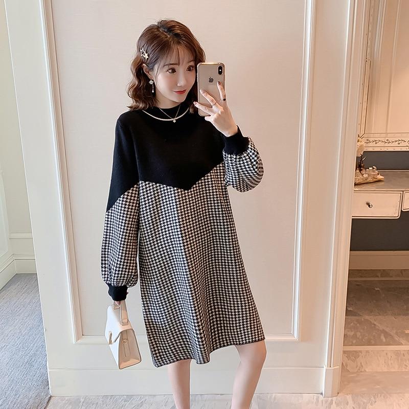 2020 Maternity Dress Winter Korean Thousand Island Check Knitted Stitching Loose Large Medium Length Dress Pregnancy 1661053 enlarge