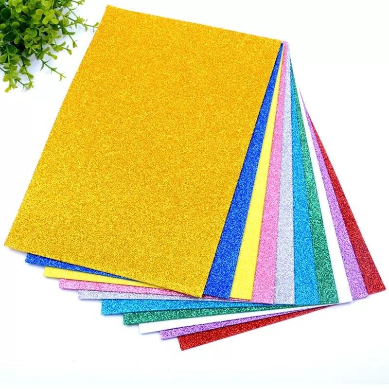 5 листов/пакет Foamiran губка блестящая поролоновая бумага 20x30 см крафт-бумага Золотая губка бумажная пудра поделки из бумаги ручной работы Декор DIY подарок