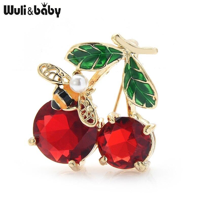 Broches de cereza de cristal rojo Wuli & baby para mujer, broches clásicos esmaltados de frutas para bodas, broches casuales de oficina, broches para regalos