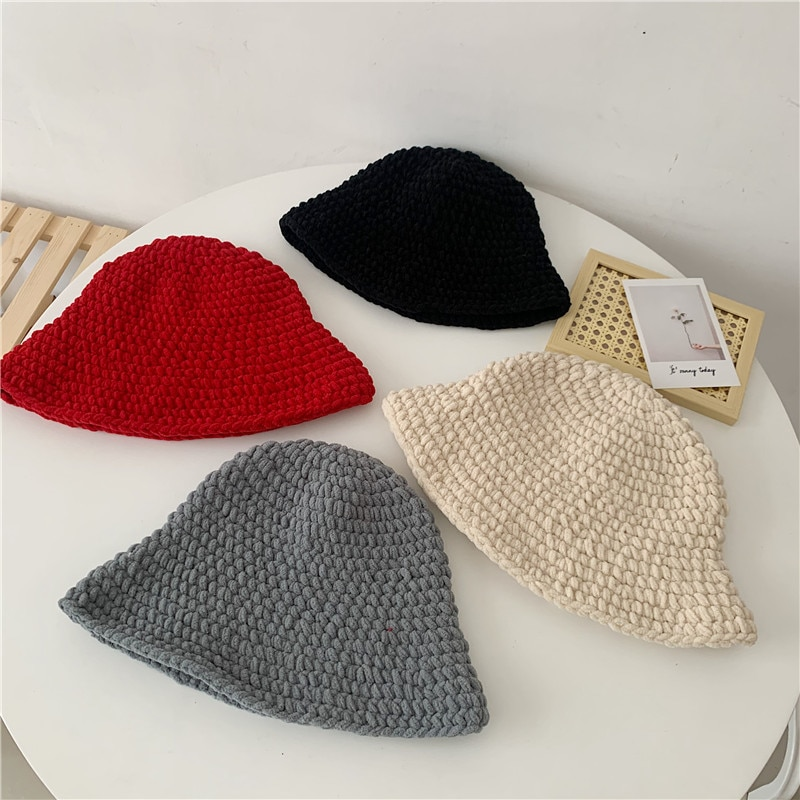 Korean Coarse Yarn Bucket Hat Women's Solid Color Autumn and Winter Thickened Handmade Crochet Knitt