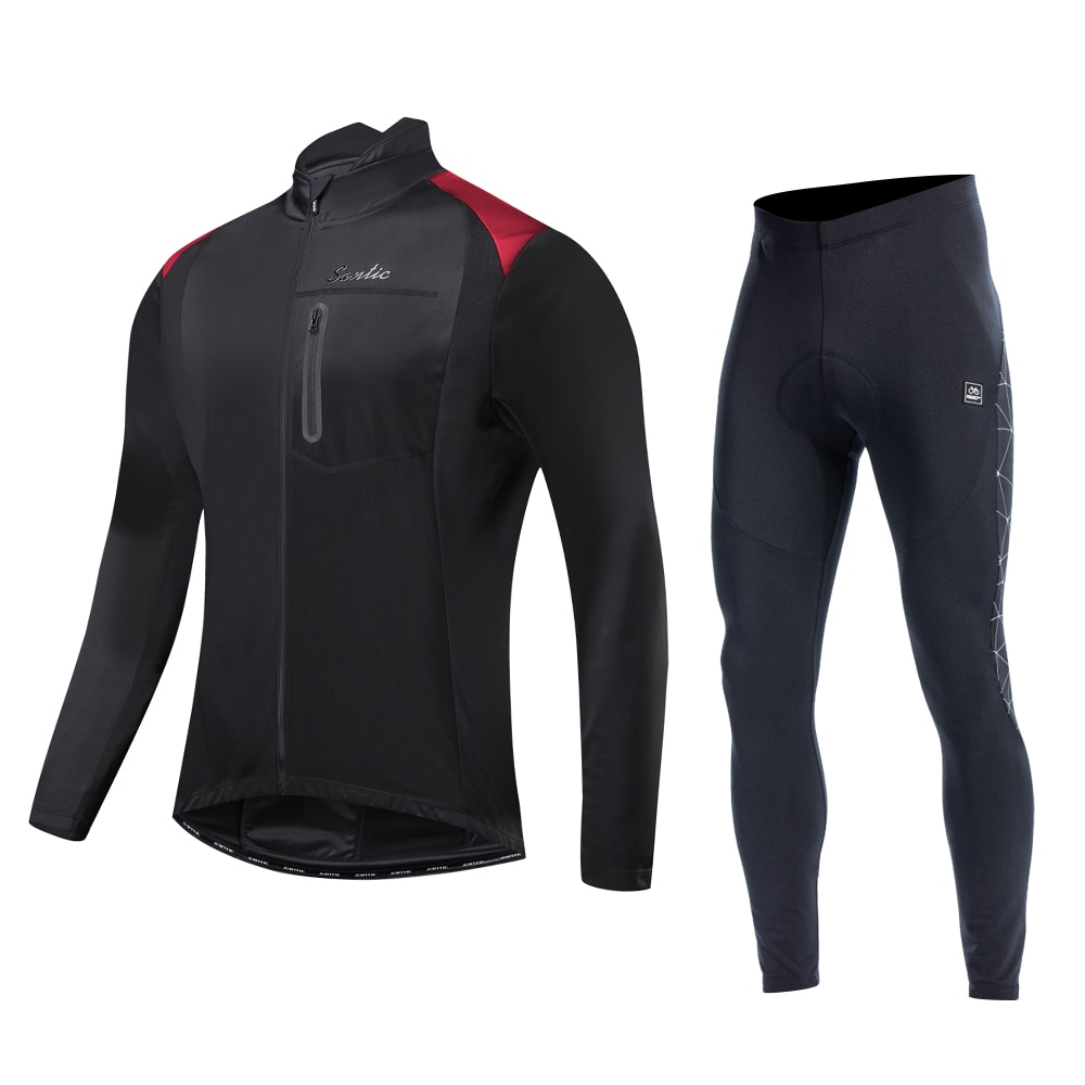 Santic Winter Cycling suits  Fleece Thermal Sportswear Windproof Reflective Bicycle Clothing Bike Coat Cycing pants MTB M-3XL