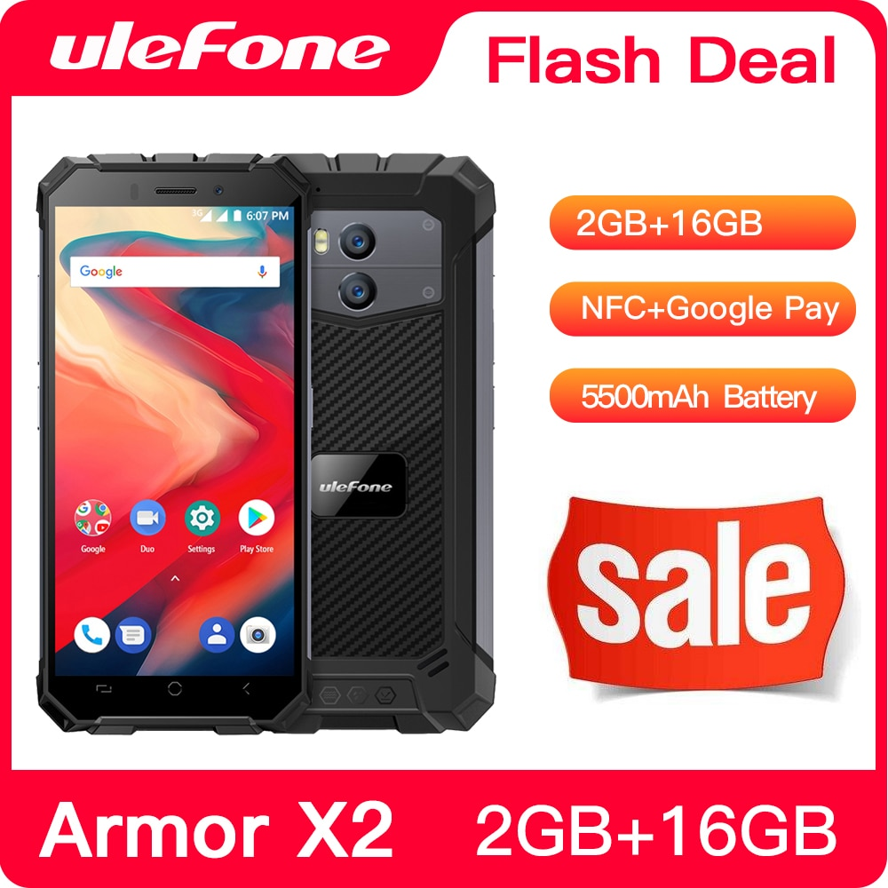 Ulefone Power X2 Водонепроницаемый IP68 3G смартфон 5,5 дюйм HD 4 ядра Android 8,1 2 ГБ + 16 Гб NFC Face ID 5500 мАч двойная камера мобильный телефон