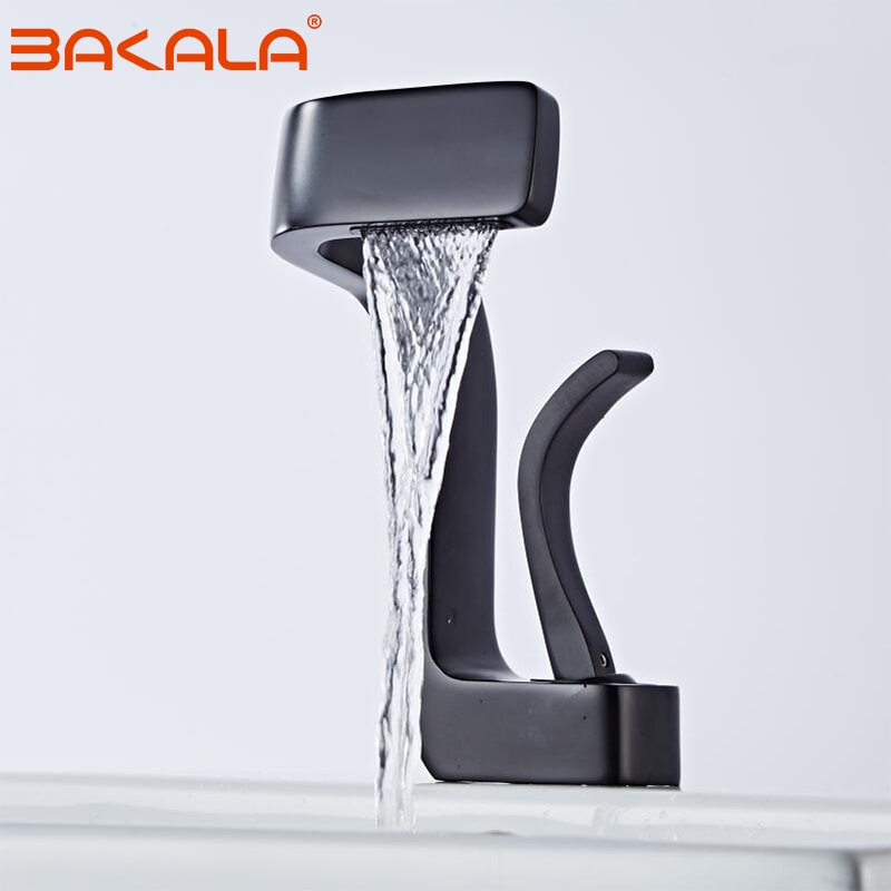 BAKALA الحمام حوض صنبور أسود/الكروم/الأبيض مادة النحاس بالوعة خلاط صنبور الساخنة و الباردة بالوعة صنبور الحمام Lavotory صنبور