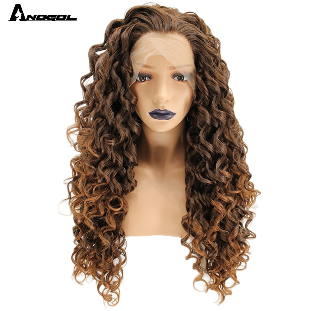 Anogol High Temperature Fiber Free Part Long Kinky Curly Brown Blonde Ombre Synthetic Lace Front Wig For White Women