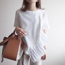 Causal Patchwork Asymmetric Women's T-shirts Tops Female Slim Short Sleeve Fashion White Tshirt Autumn 2020 Fall Korean Tees