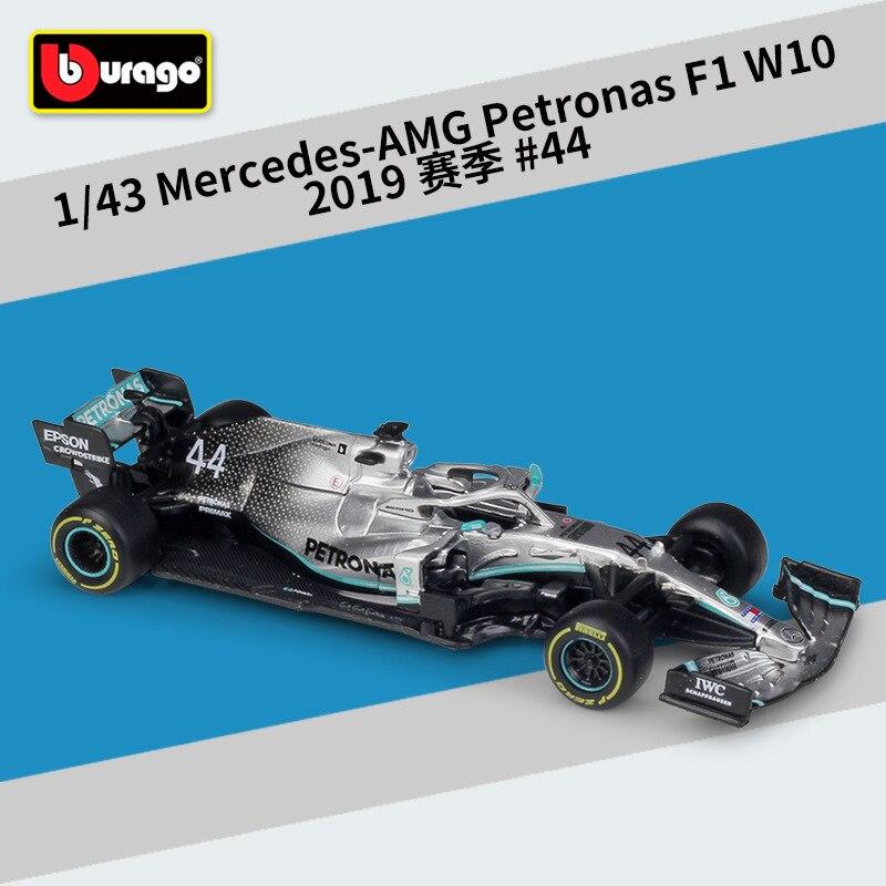Металлические весы Bburago для литья под давлением, 1:43, F1, Formulaa 1, модель Benz, гоночный автомобиль W07/W10, набор игрушек из сплава, модель, подарок для детей