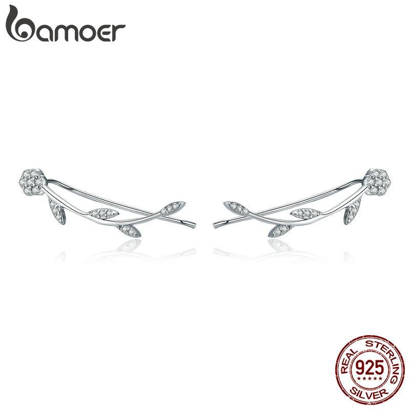 Bamoer authentic 925 sterling silver clear cz flor árvore folhas brincos para mulheres brincos de prata fina jóias sce266