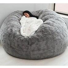 Dropshipping fodera per sedia a sacco di fagioli di grandi dimensioni da 180CM con rivestimento in pelliccia pelosa sedia da divano morbida gigante da 7 piedi