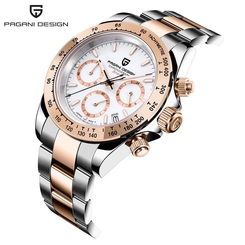 PAGANI DESIGN 2021 أفضل ماركة ساعات كوارتز رجالية اليابان VK63 حركة الرجال ساعة معصم كرونوغراف ساعة رياضية Relogio Masculino