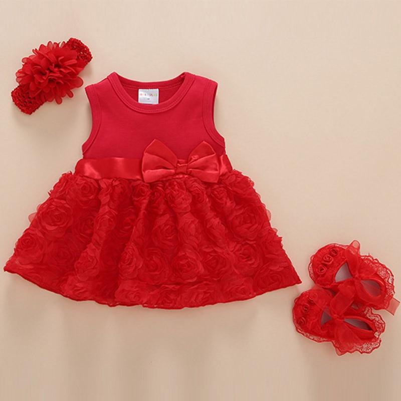 Baby Girls Infant Newborn Dress Summer Kids Wedding Party Birthday Bow Flower Outfits Dress Headband