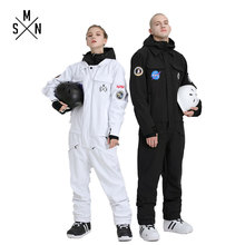 SMN Ski Suit One Piece Men Women Couple Jumpsuit Snowboard Jacket Unisex Winter Waterproof Breathable Skiing Snowboarding Wear