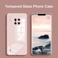 9h tempered glass phone case for huawei p30 p40 pro mate 20 30 30e 40 pro plus soft silicone frame cover for honor 30 pro case