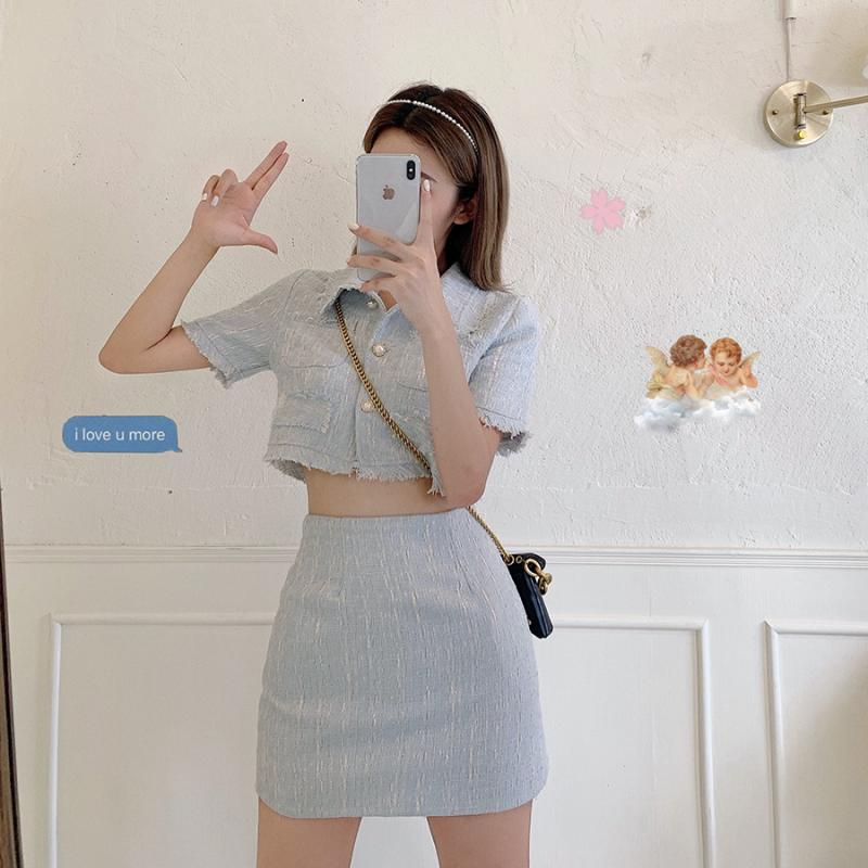 Summer clothes female print two-piece short-sleeved nine-point blouse shorts skirt suit elegant 2-piece