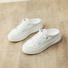 Women's Vulcanize Shoes Women Casual Sneakers Bonded leather White Sneakers,Half slippers,Comfort Sh
