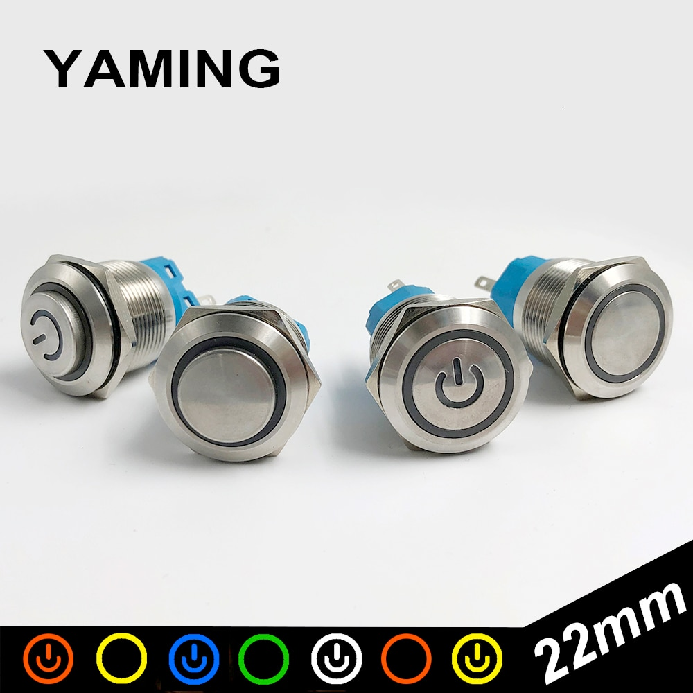 5pcs la38a 11bn quality sliver contact push button switch on off momentary latching 22mm white 22mm Metal Push Button Switch Momentary/Latching Colorful Useful Durable LED Power Light Waterproof Self-Locking Stainless