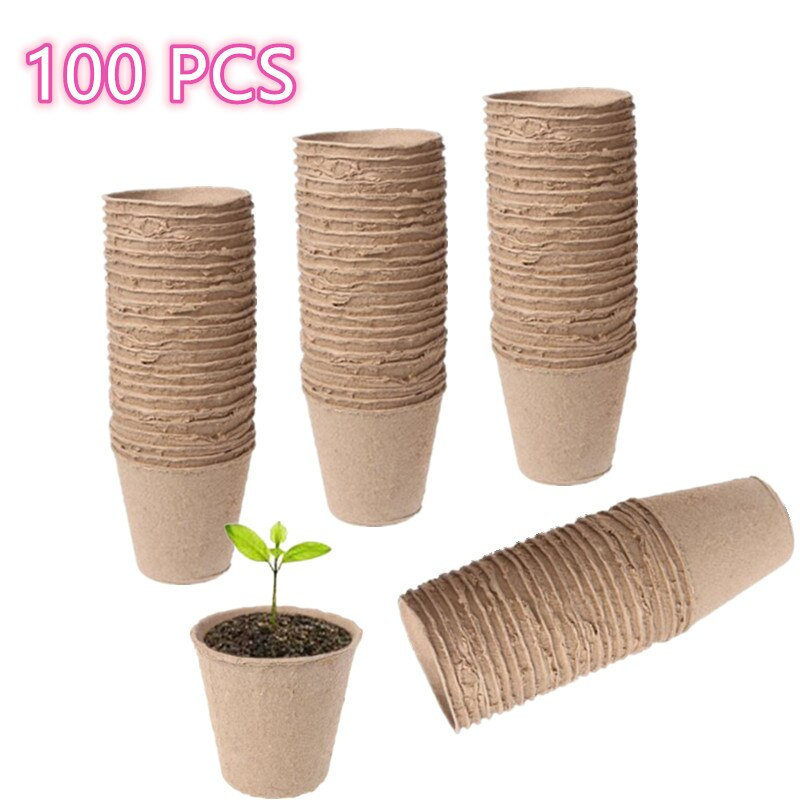 100Pieces 6cm Environmental protection Garden Round Peat Pots Plant Seedling Starters Cups Nursery H