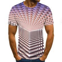 T-shirt homme vortex tridimensionnel 3D imprimé été col rond quotidien décontracté drôle t-shirt