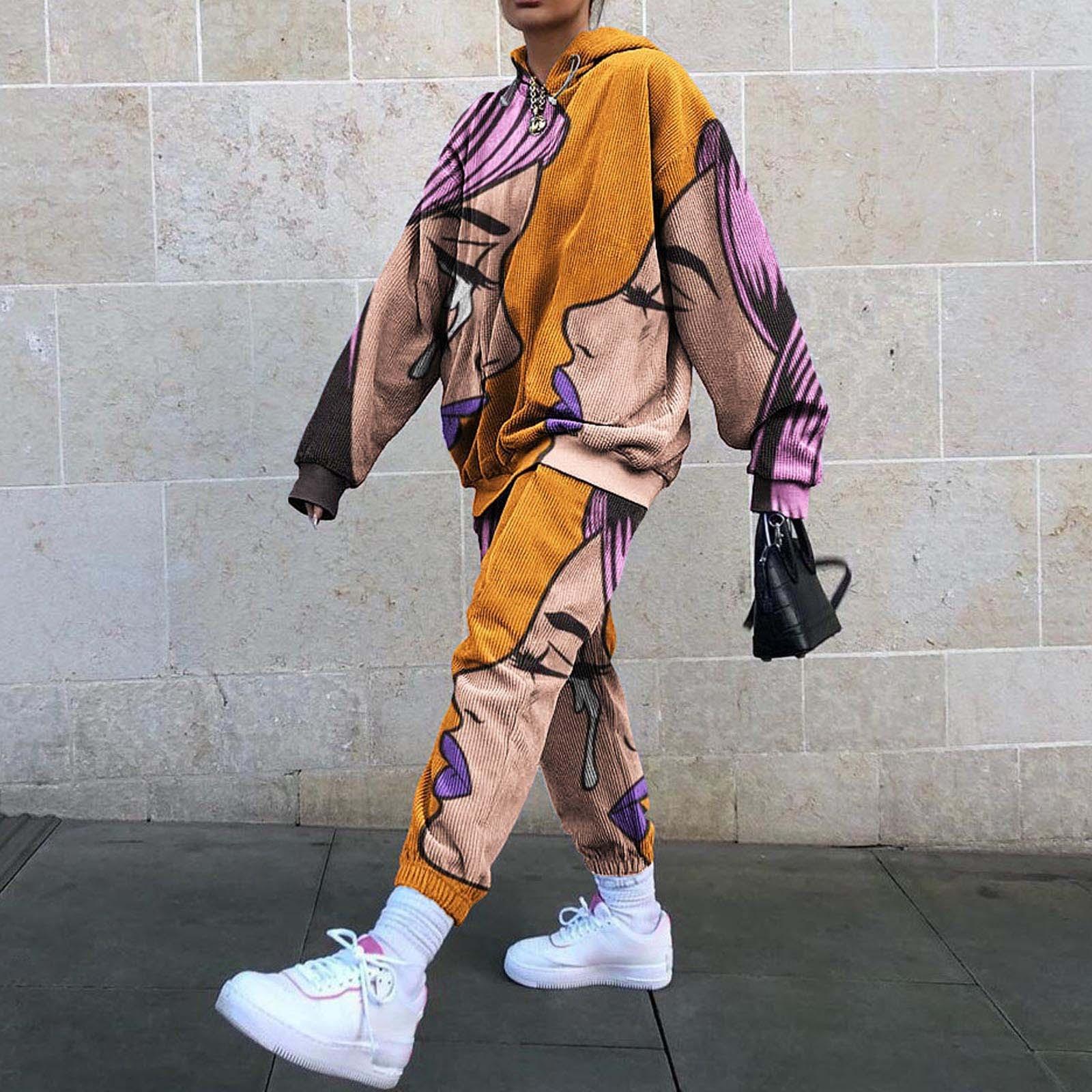 Fun Printing Design Very Thin Sweatshirt Pants Suit 2 Piece Set Women Tracksuit New Autumn Tops Loose Casual Girls Plus Size 3XL