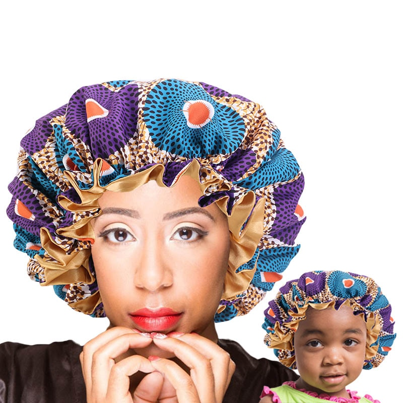 Mommy And Me Bonnet Set Double Layer Silky Sleep Cap African Pattern Print Satin Lined Bonnet Women