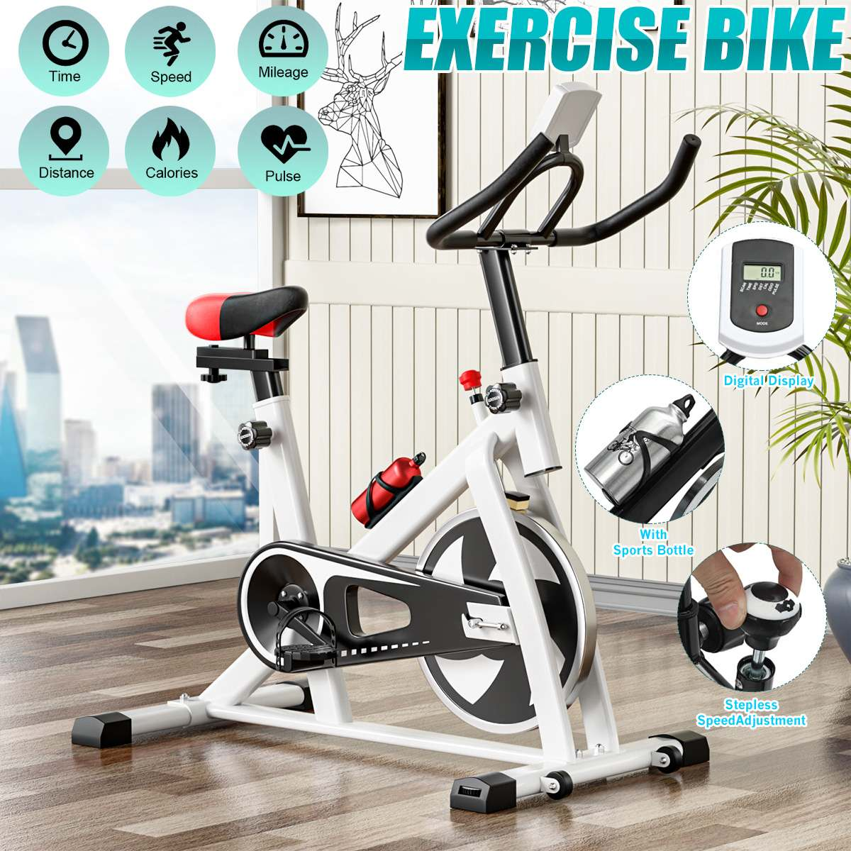 Exercise Bike Cardio Cycling Home Ultra-quiet Indoor Cycling Weight Loss Machine Fitness Gym Training Bicycle Fitness Equipment