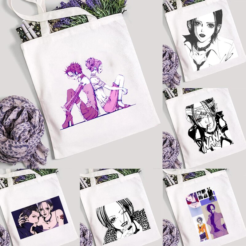 Nana Anime Shopping Bags Canvas Shopper Shoulder Bolsas Woman Customizable Women' Fabric Designer Ha