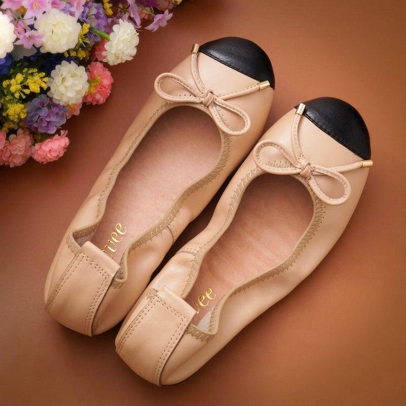 حذاء مسطح نسائي ناعم من الجلد الأصلي حذاء باليه مسطح مستدير الرأس حذاء نسائي مسطح مع فيونكة حذاء بدون كعب للنساء