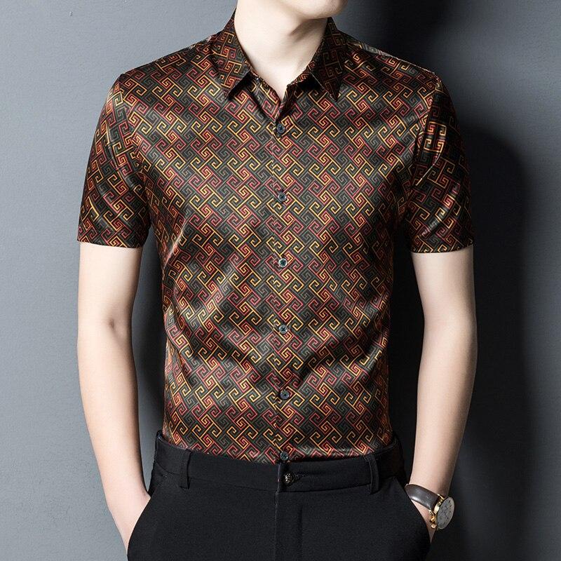 Real Silk 100% Retro Luxury Clothing Mens Baroque Retro Printed Shirts Mens Quality Business Smooth Summer Satin Shirts Men Cozy