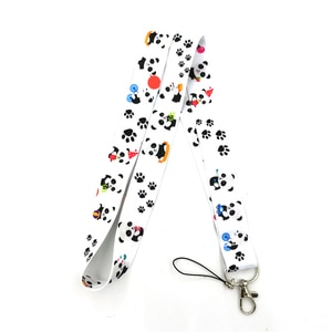 12Pcs/set Cartoon Panda Phone Lanyard for Keys Charm Neck Strap ID Card Badge Holder Keycord Webbing Ribbon Keychain Hang Rope