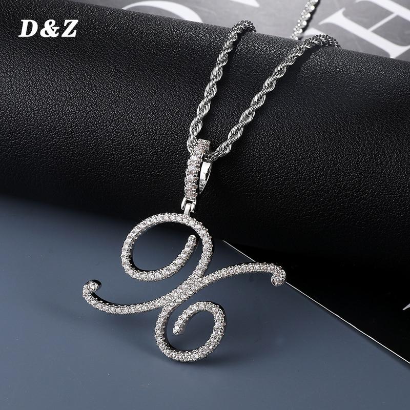 D&Z New A-Z Cursive Letters Name Pendant &Necklace Iced Out Cubic Zircon Gold Silver Color Charm Hip Hop Jewelry