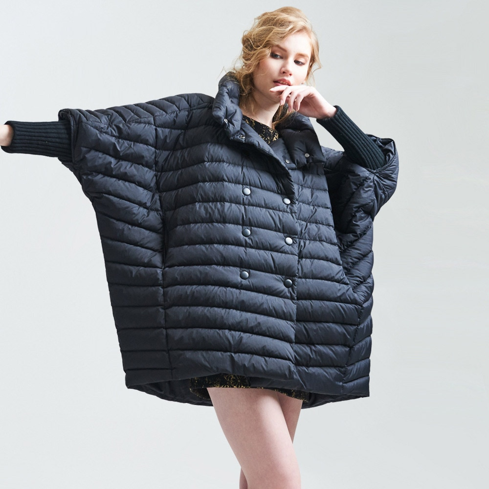 FYYIYI أسفل معطف المرأة فضفاضة عارضة البخاخ الدهون حجم كبير المرأة عباءة معطف طويل عصري الإناث باركاس حفلة الشتاء سترة